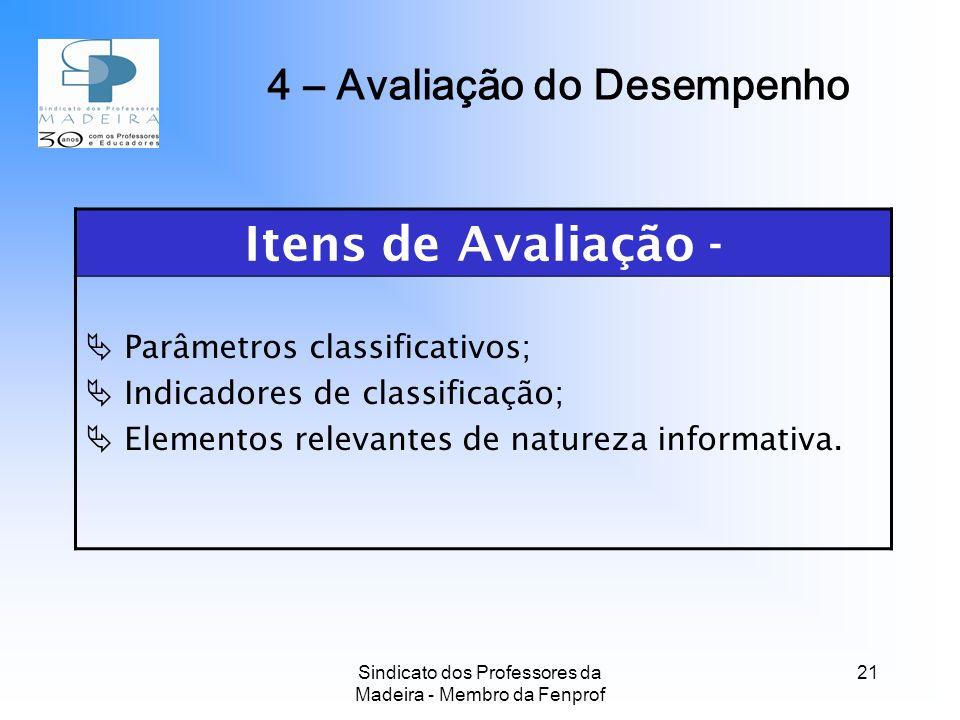 Sindicato dos Professores da Madeira - Membro da Fenprof 21 4 – Avaliação do Desempenho Itens de Avaliação - Parâmetros classificativos; Indicadores de classificação; Elementos relevantes de natureza informativa.
