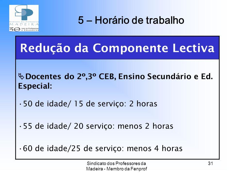 Sindicato dos Professores da Madeira - Membro da Fenprof 31 Redução da Componente Lectiva Docentes do 2º,3º CEB, Ensino Secundário e Ed.
