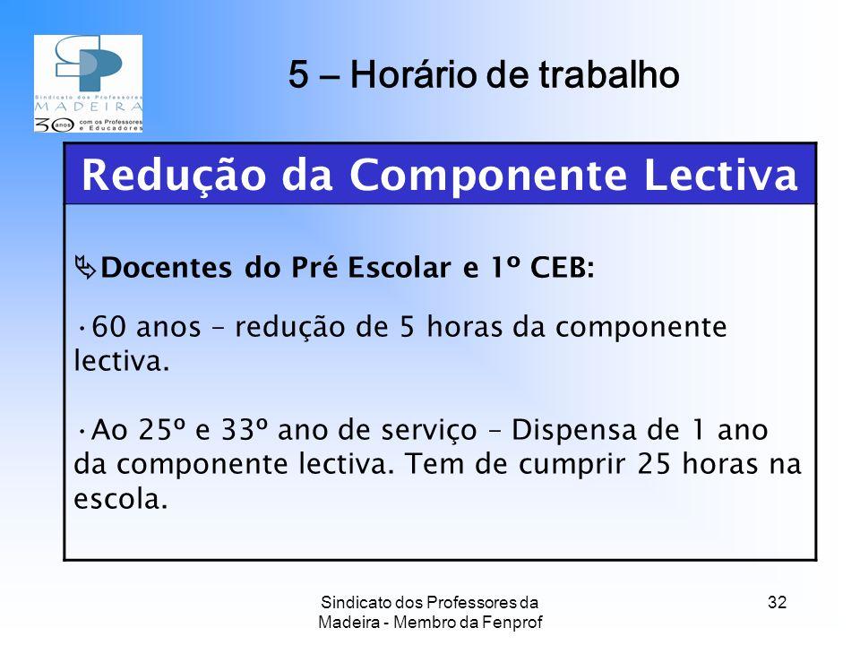 Sindicato dos Professores da Madeira - Membro da Fenprof 32 Redução da Componente Lectiva Docentes do Pré Escolar e 1º CEB: 60 anos – redução de 5 horas da componente lectiva.