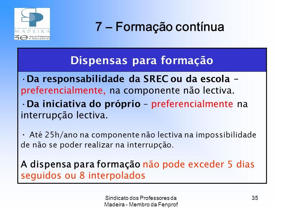 Sindicato dos Professores da Madeira - Membro da Fenprof 35 Dispensas para formação Da responsabilidade da SREC ou da escola – preferencialmente, na componente não lectiva.
