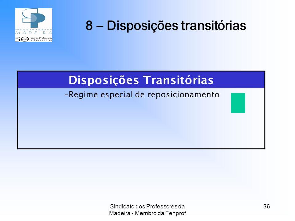 Sindicato dos Professores da Madeira - Membro da Fenprof 36 Disposições Transitórias –Regime especial de reposicionamento 8 – Disposições transitórias