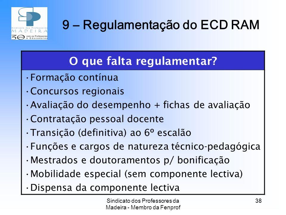Sindicato dos Professores da Madeira - Membro da Fenprof 38 O que falta regulamentar.