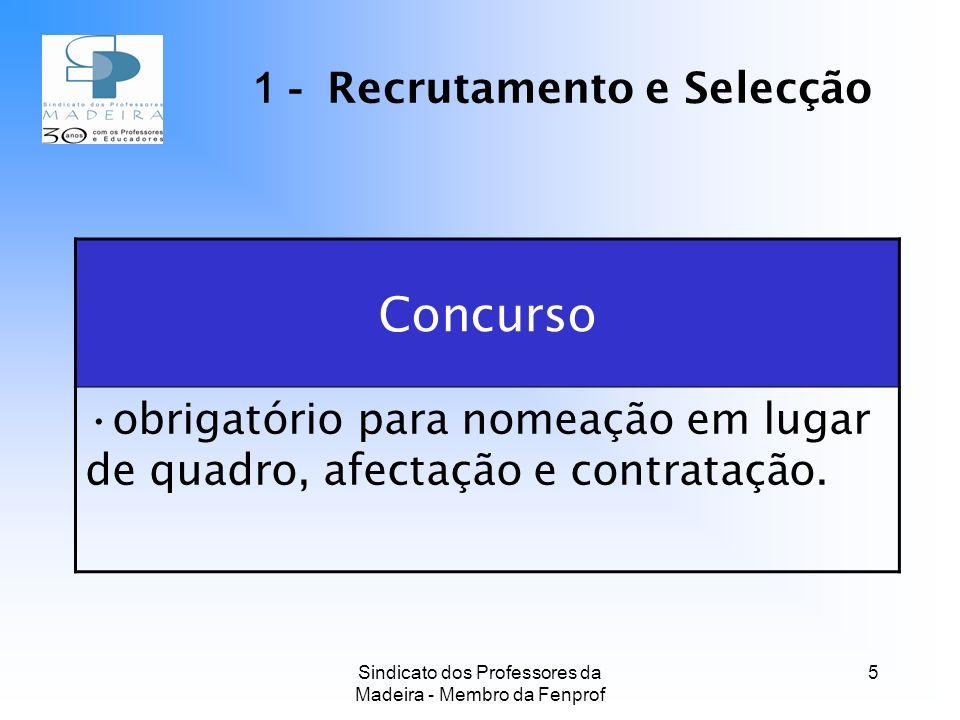 Sindicato dos Professores da Madeira - Membro da Fenprof 5 Concurso obrigatório para nomeação em lugar de quadro, afectação e contratação.