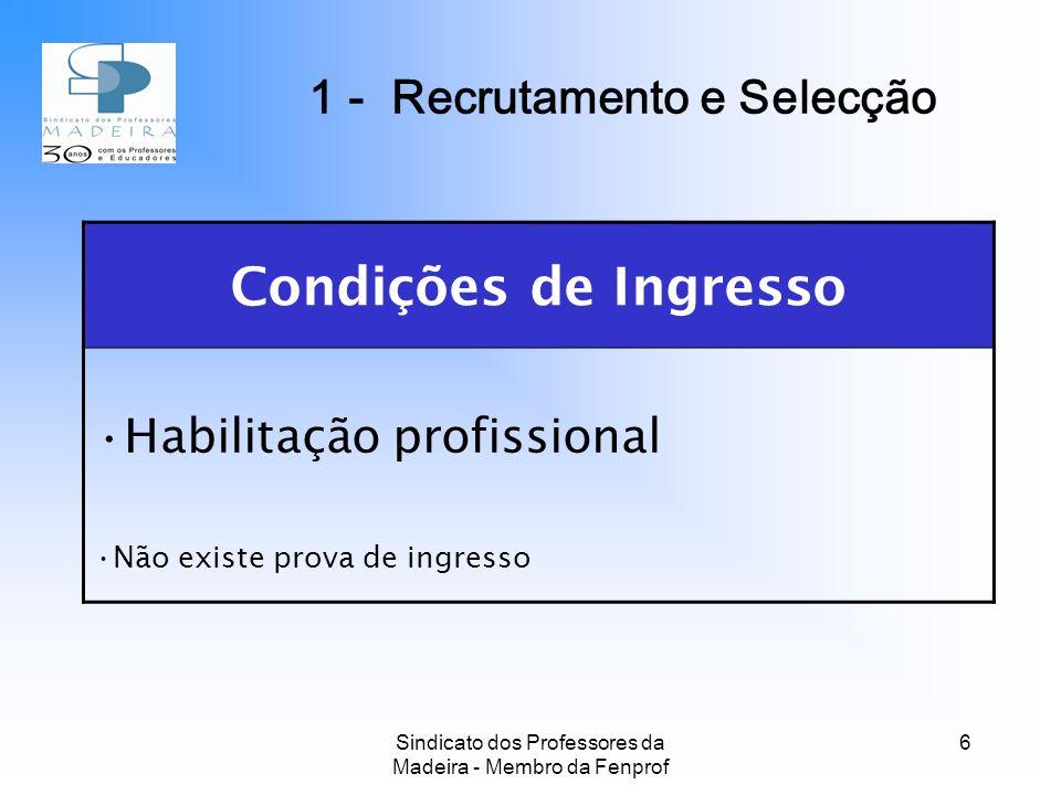 Sindicato dos Professores da Madeira - Membro da Fenprof 6 Condições de Ingresso Habilitação profissional Não existe prova de ingresso 1 - Recrutamento e Selecção