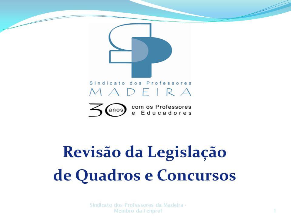 Plenários Concelhios Revisão da Legislação de Quadros e Concursos Fevereiro 2009 Sindicato dos Professores da Madeira - Membro da Fenprof1