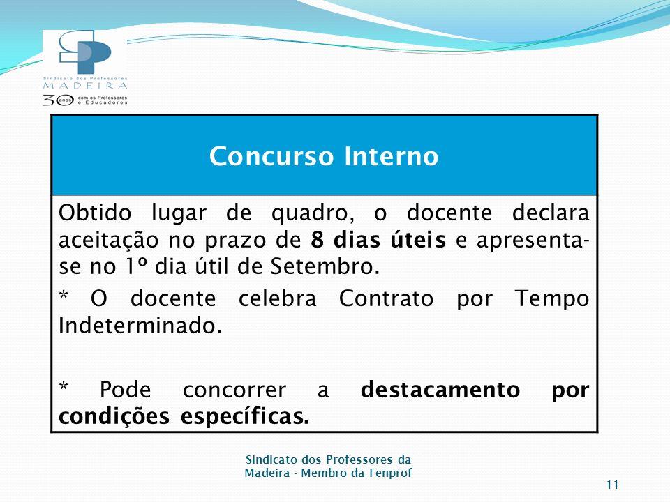 Concurso Interno Obtido lugar de quadro, o docente declara aceitação no prazo de 8 dias úteis e apresenta- se no 1º dia útil de Setembro.