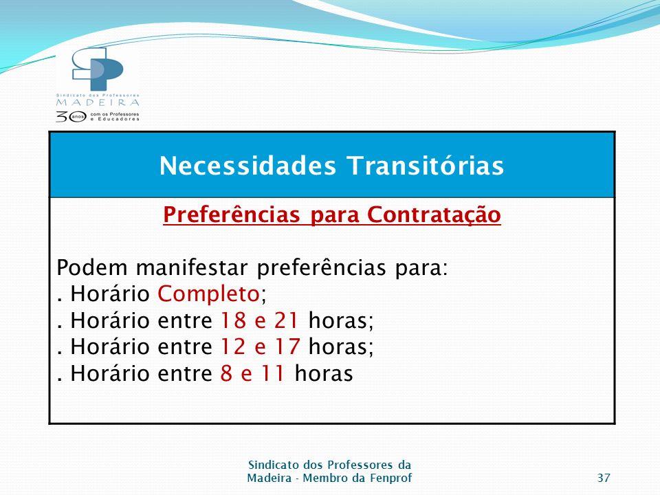 Sindicato dos Professores da Madeira - Membro da Fenprof37 Necessidades Transitórias Preferências para Contratação Podem manifestar preferências para:.