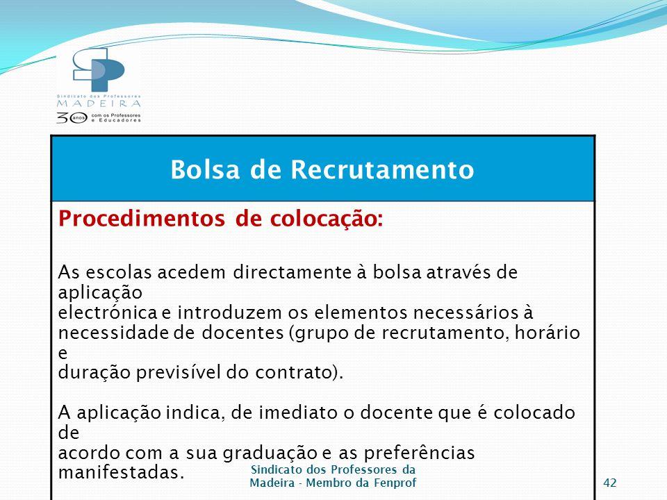 Sindicato dos Professores da Madeira - Membro da Fenprof42 Bolsa de Recrutamento Procedimentos de colocação: As escolas acedem directamente à bolsa através de aplicação electrónica e introduzem os elementos necessários à necessidade de docentes (grupo de recrutamento, horário e duração previsível do contrato).