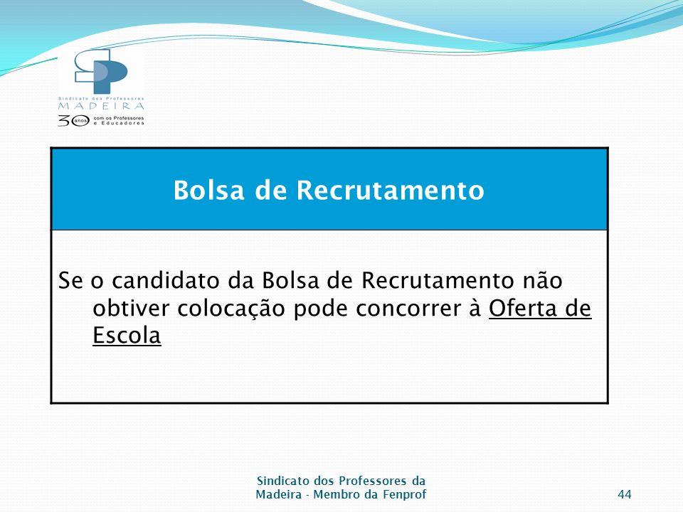 Sindicato dos Professores da Madeira - Membro da Fenprof44 Bolsa de Recrutamento Se o candidato da Bolsa de Recrutamento não obtiver colocação pode concorrer à Oferta de Escola