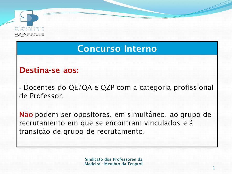 Concurso Interno Destina-se aos: - Docentes do QE/QA e QZP com a categoria profissional de Professor.