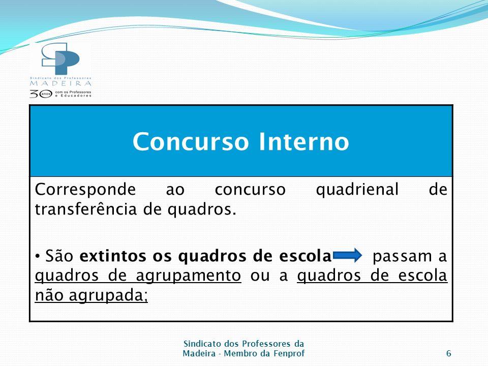 Concurso Interno Corresponde ao concurso quadrienal de transferência de quadros.