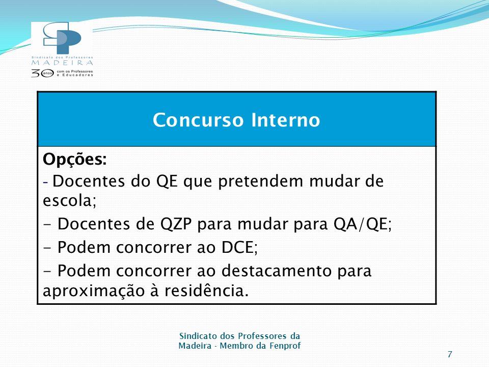 Concurso Interno Opções: - Docentes do QE que pretendem mudar de escola; - Docentes de QZP para mudar para QA/QE; - Podem concorrer ao DCE; - Podem concorrer ao destacamento para aproximação à residência.