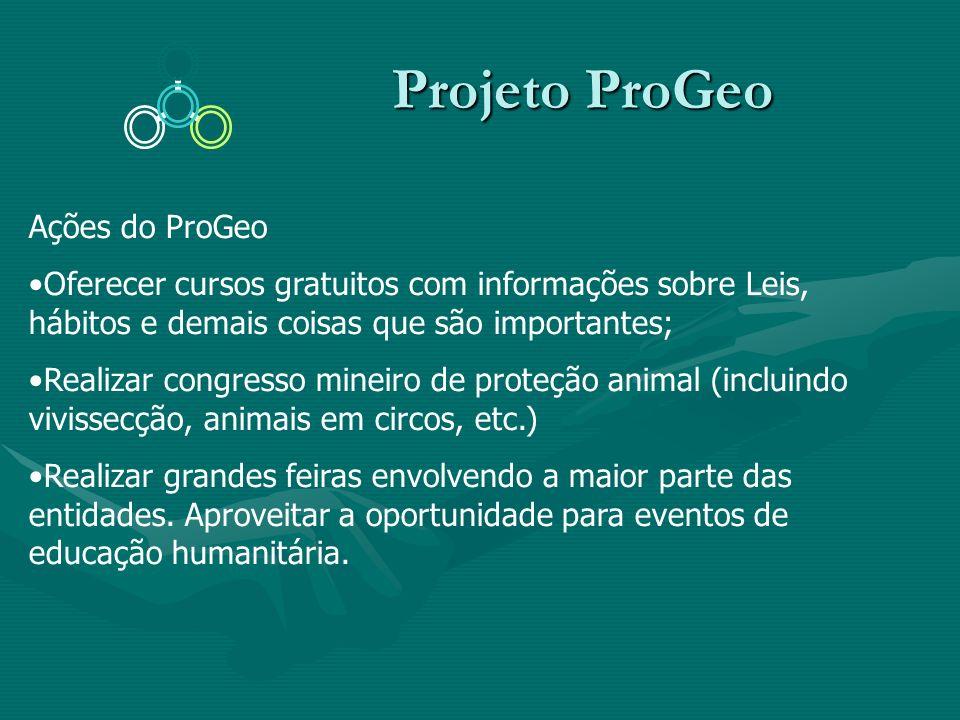 Projeto ProGeo Projeto ProGeo Ações do ProGeo Oferecer cursos gratuitos com informações sobre Leis, hábitos e demais coisas que são importantes; Reali