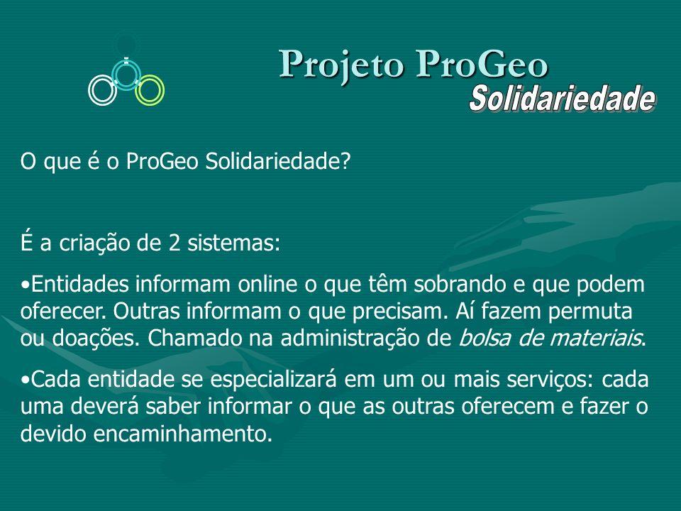 Projeto ProGeo Projeto ProGeo O que é o ProGeo Solidariedade? É a criação de 2 sistemas: Entidades informam online o que têm sobrando e que podem ofer