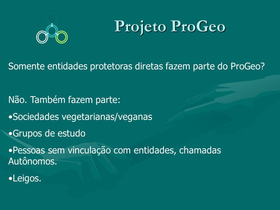 Projeto ProGeo Projeto ProGeo Somente entidades protetoras diretas fazem parte do ProGeo? Não. Também fazem parte: Sociedades vegetarianas/veganas Gru