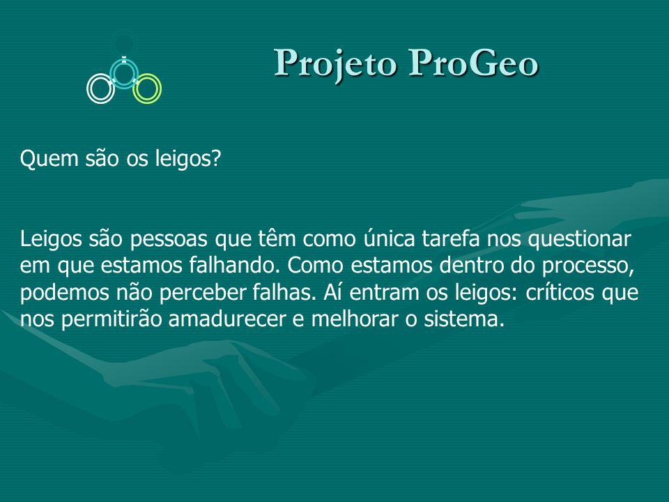 Projeto ProGeo Projeto ProGeo Quem são os leigos? Leigos são pessoas que têm como única tarefa nos questionar em que estamos falhando. Como estamos de