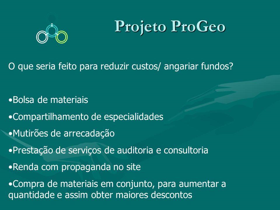 Projeto ProGeo Projeto ProGeo O que seria feito para reduzir custos/ angariar fundos? Bolsa de materiais Compartilhamento de especialidades Mutirões d