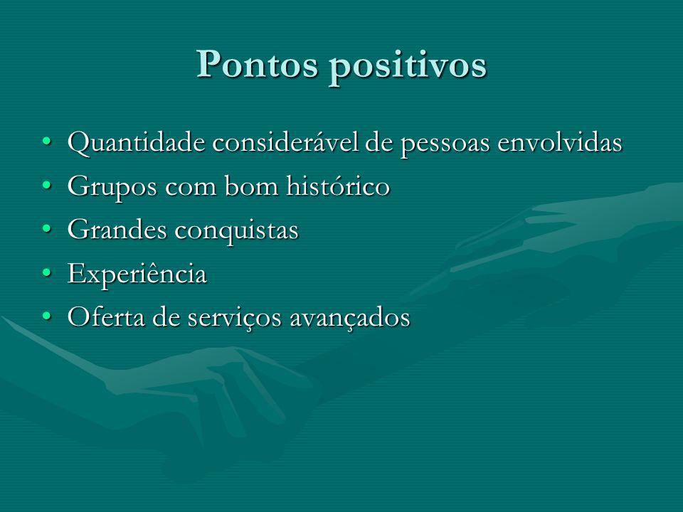 Pontos positivos Quantidade considerável de pessoas envolvidasQuantidade considerável de pessoas envolvidas Grupos com bom históricoGrupos com bom his