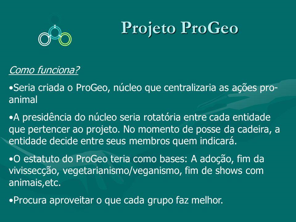 Projeto ProGeo Projeto ProGeo Como funciona? Seria criada o ProGeo, núcleo que centralizaria as ações pro- animal A presidência do núcleo seria rotató
