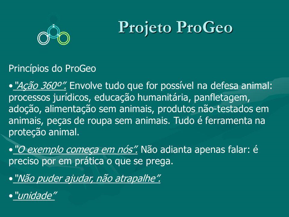 Projeto ProGeo Projeto ProGeo Princípios do ProGeo Ação 360º. Envolve tudo que for possível na defesa animal: processos jurídicos, educação humanitári