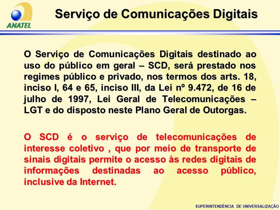 SUPERINTENDÊNCIA DE UNIVERSALIZAÇÃO Serviço de Comunicações Digitais O Serviço de Comunicações Digitais destinado ao uso do público em geral – SCD, se