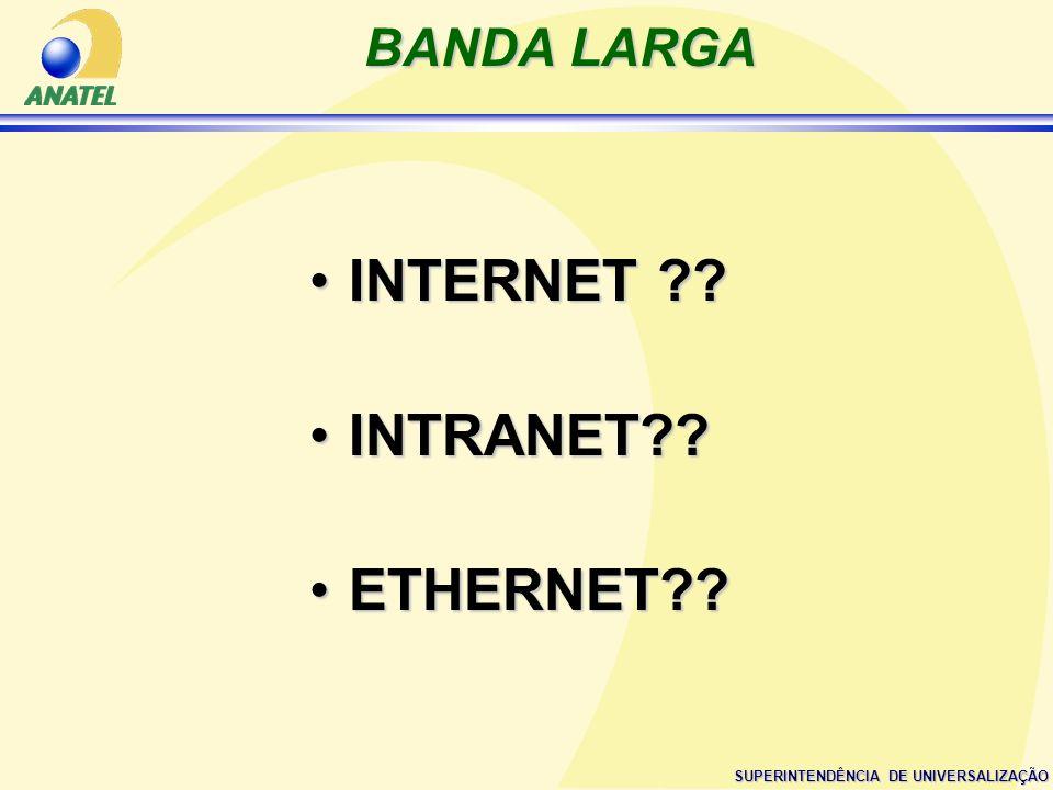 SUPERINTENDÊNCIA DE UNIVERSALIZAÇÃO BANDA LARGA INTERNET ??INTERNET ?? INTRANET??INTRANET?? ETHERNET??ETHERNET??
