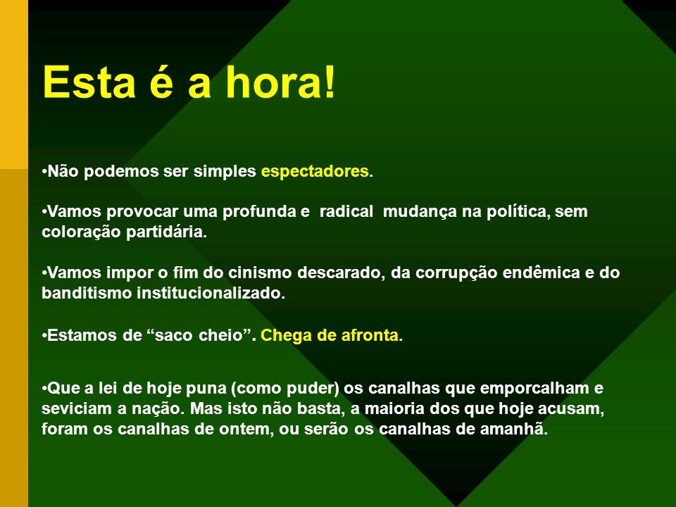 ESTA É A HORA! 7 de setembro, 17 horas! O Brasil não tem povo, tem público. (Lima Barreto)