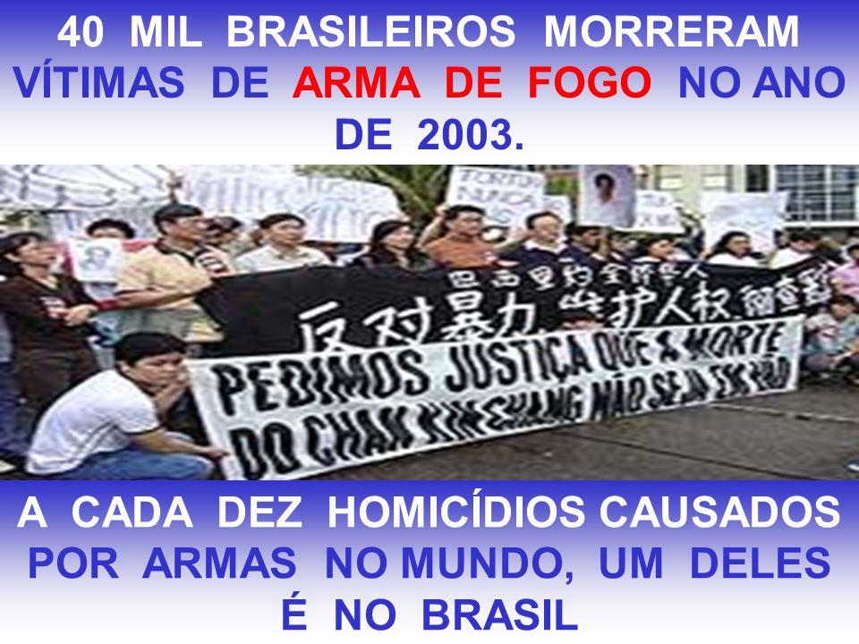 40 MIL BRASILEIROS MORRERAM VÍTIMAS DE ARMA DE FOGO NO ANO DE 2003. A CADA DEZ HOMICÍDIOS CAUSADOS POR ARMAS NO MUNDO, UM DELES É NO BRASIL