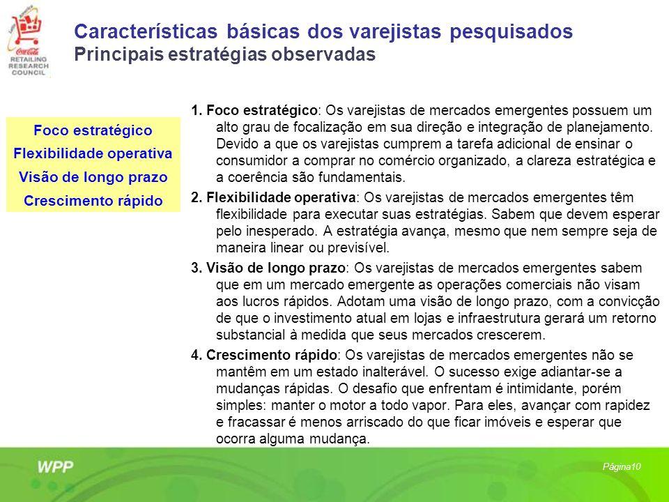 Características básicas dos varejistas pesquisados Principais estratégias observadas 1. Foco estratégico: Os varejistas de mercados emergentes possuem