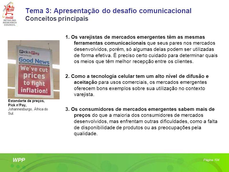 Tema 3: Apresentação do desafio comunicacional Conceitos principais 1. Os varejistas de mercados emergentes têm as mesmas ferramentas comunicacionais