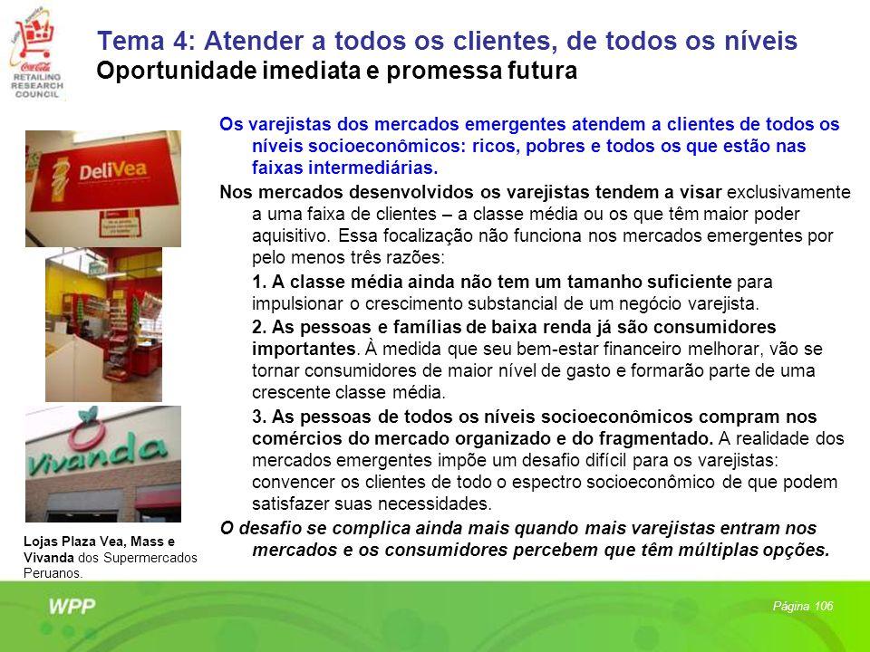 Tema 4: Atender a todos os clientes, de todos os níveis Oportunidade imediata e promessa futura Os varejistas dos mercados emergentes atendem a client
