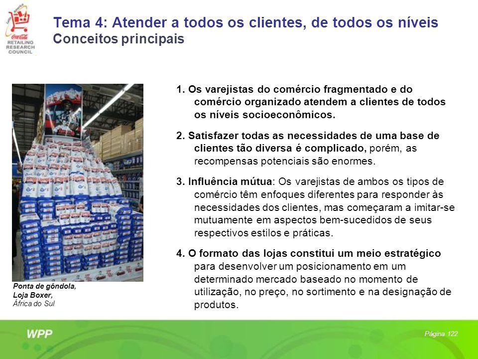 Tema 4: Atender a todos os clientes, de todos os níveis Conceitos principais 1. Os varejistas do comércio fragmentado e do comércio organizado atendem