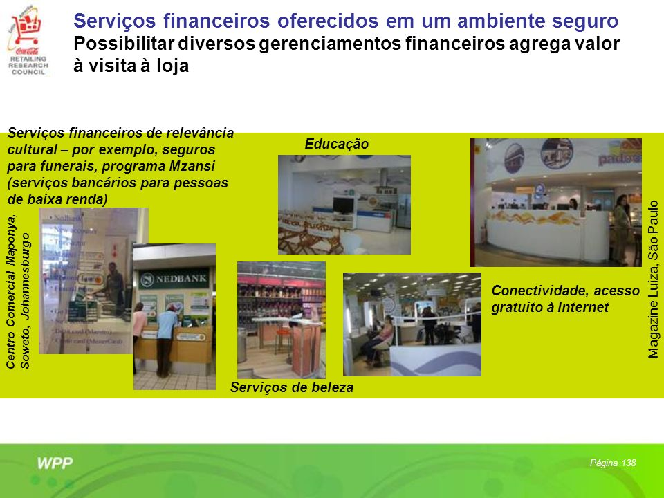 Centro Comercial Maponya, Soweto, Johannesburgo Serviços financeiros de relevância cultural – por exemplo, seguros para funerais, programa Mzansi (ser