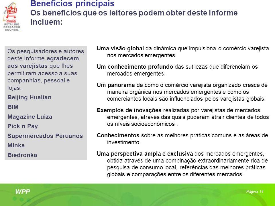 Benefícios principais Os benefícios que os leitores podem obter deste Informe incluem: Uma visão global da dinâmica que impulsiona o comércio varejist