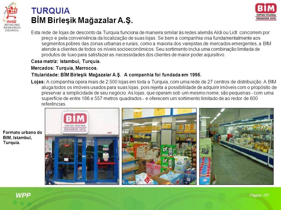 TURQUIA BİM Birleşik Mağazalar A.Ş. Esta rede de lojas de desconto da Turquia funciona de maneira similar às redes alemãs Aldi ou Lidl: concorrem por