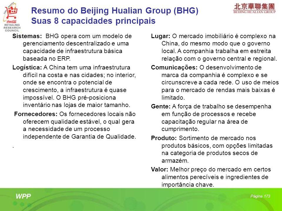 Página 173 Sistemas: BHG opera com um modelo de gerenciamento descentralizado e uma capacidade de infraestrutura básica baseada no ERP. Logística: A C