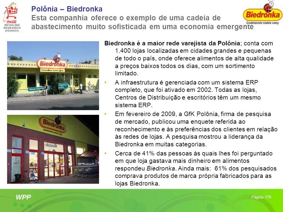 Polônia – Biedronka Esta companhia oferece o exemplo de uma cadeia de abastecimento muito sofisticada em uma economia emergente Biedronka é a maior re