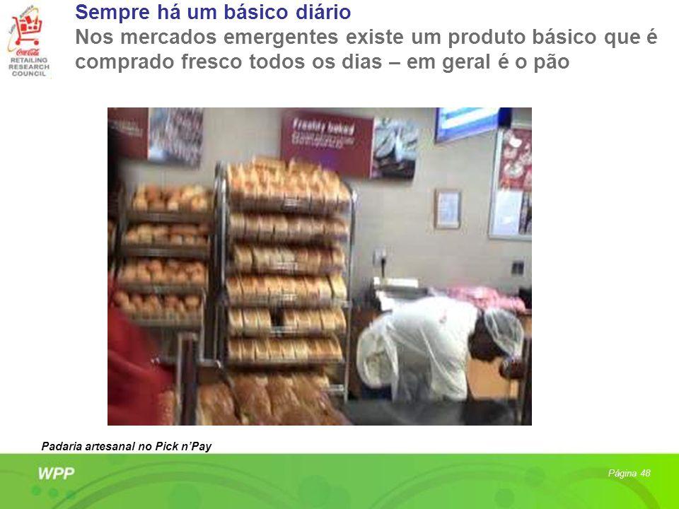 Sempre há um básico diário Nos mercados emergentes existe um produto básico que é comprado fresco todos os dias – em geral é o pão Página 48 Padaria a