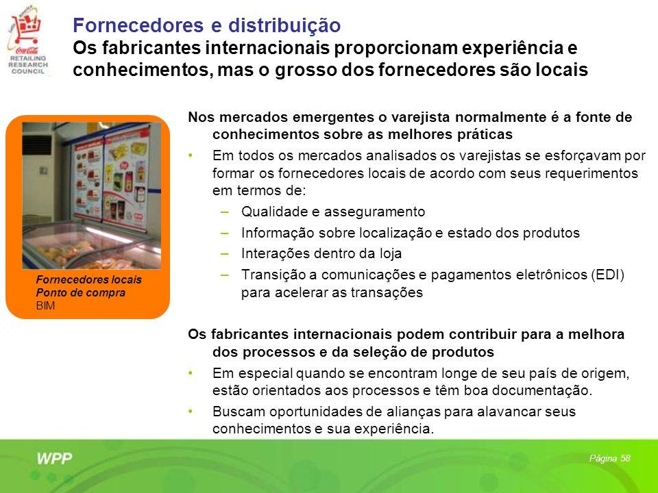 Fornecedores e distribuição Os fabricantes internacionais proporcionam experiência e conhecimentos, mas o grosso dos fornecedores são locais Nos merca