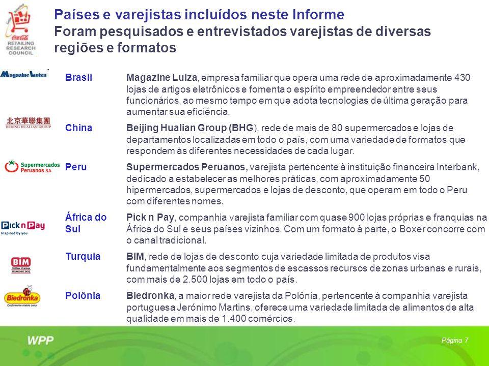 Países e varejistas incluídos neste Informe Foram pesquisados e entrevistados varejistas de diversas regiões e formatos Página 7 BrasilMagazine Luiza,
