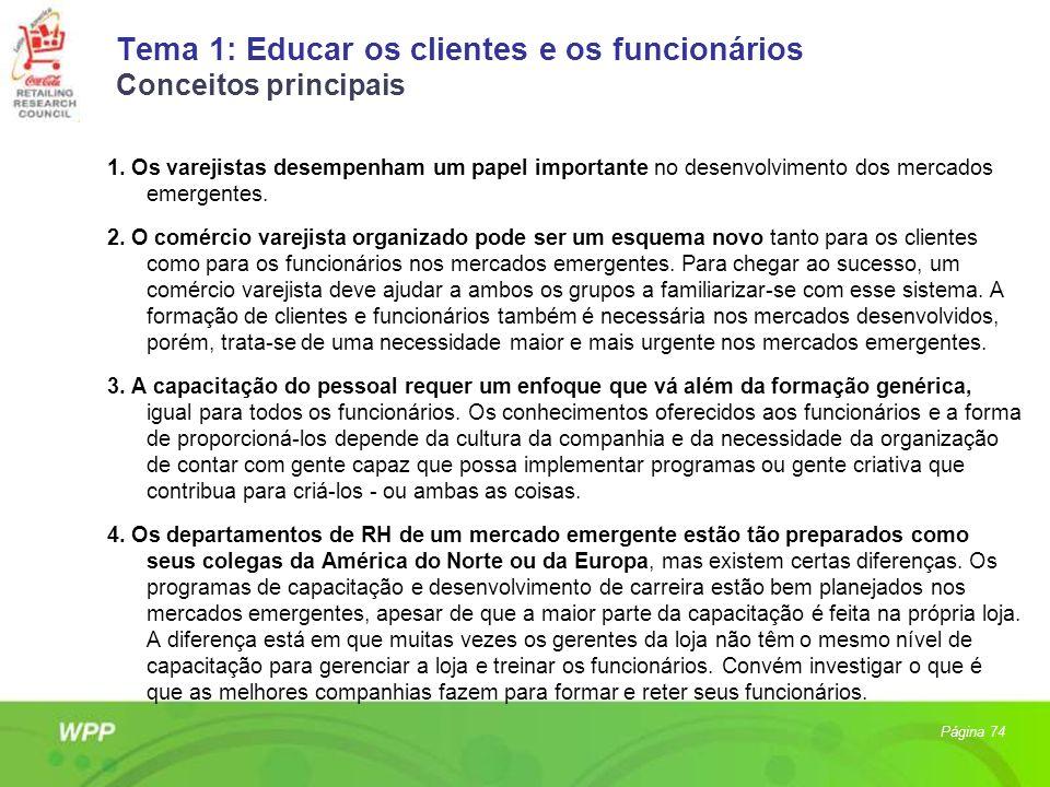 Tema 1: Educar os clientes e os funcionários Conceitos principais 1. Os varejistas desempenham um papel importante no desenvolvimento dos mercados eme