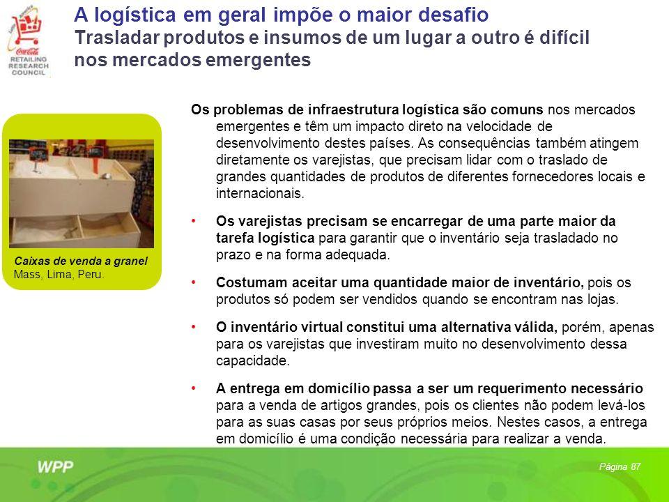 A logística em geral impõe o maior desafio Trasladar produtos e insumos de um lugar a outro é difícil nos mercados emergentes Os problemas de infraest