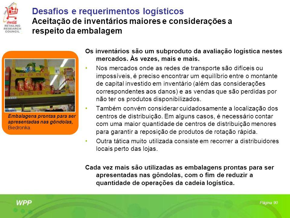 Desafios e requerimentos logísticos Aceitação de inventários maiores e considerações a respeito da embalagem Os inventários são um subproduto da avali