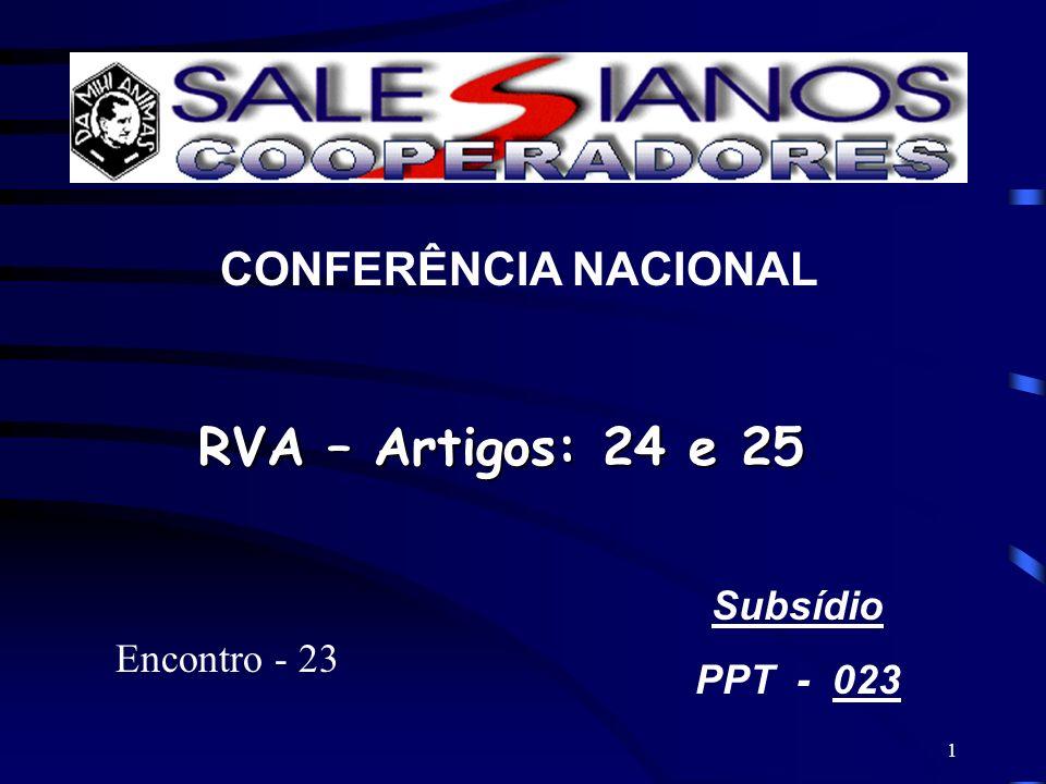 1 CONFERÊNCIA NACIONAL RVA – Artigos: 24 e 25 Subsídio PPT - 023 Encontro - 23
