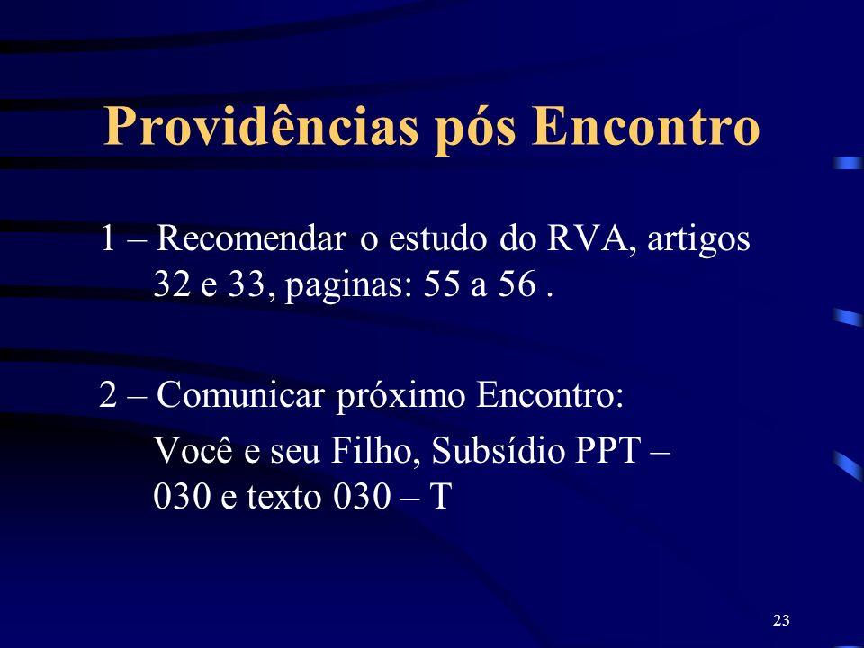 23 Providências pós Encontro 1 – Recomendar o estudo do RVA, artigos 32 e 33, paginas: 55 a 56. 2 – Comunicar próximo Encontro: Você e seu Filho, Subs