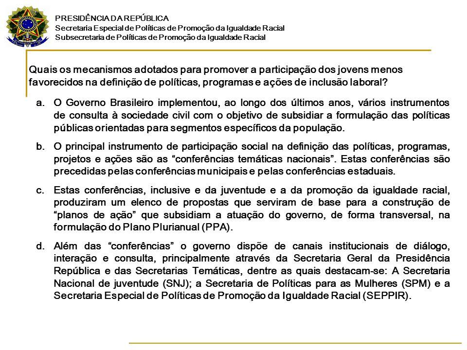 PRESIDÊNCIA DA REPÚBLICA Secretaria Especial de Políticas de Promoção da Igualdade Racial Subsecretaria de Políticas de Promoção da Igualdade Racial Que resultados foram obtidos em matéria de inclusão laboral de jovens menos favorecidos no mercado de trabalho.