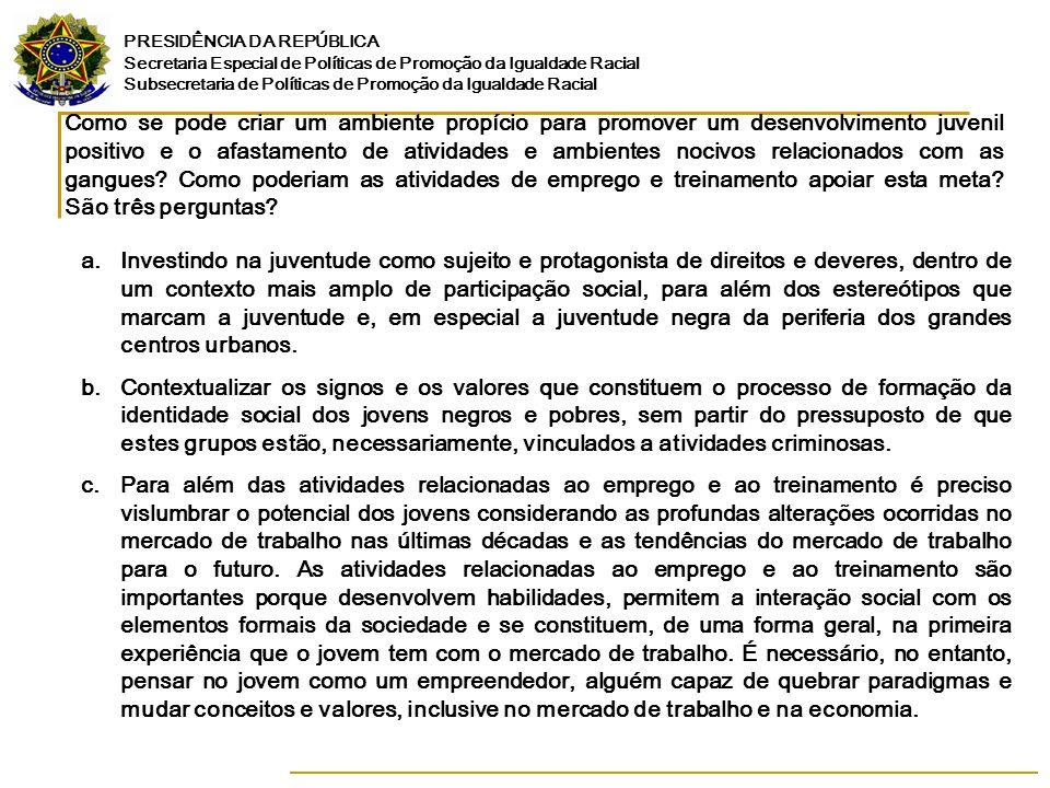 PRESIDÊNCIA DA REPÚBLICA Secretaria Especial de Políticas de Promoção da Igualdade Racial Subsecretaria de Políticas de Promoção da Igualdade Racial C