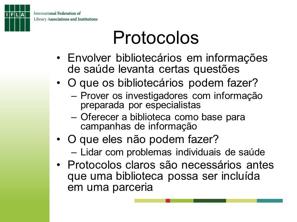 Protocolos Envolver bibliotecários em informações de saúde levanta certas questões O que os bibliotecários podem fazer.