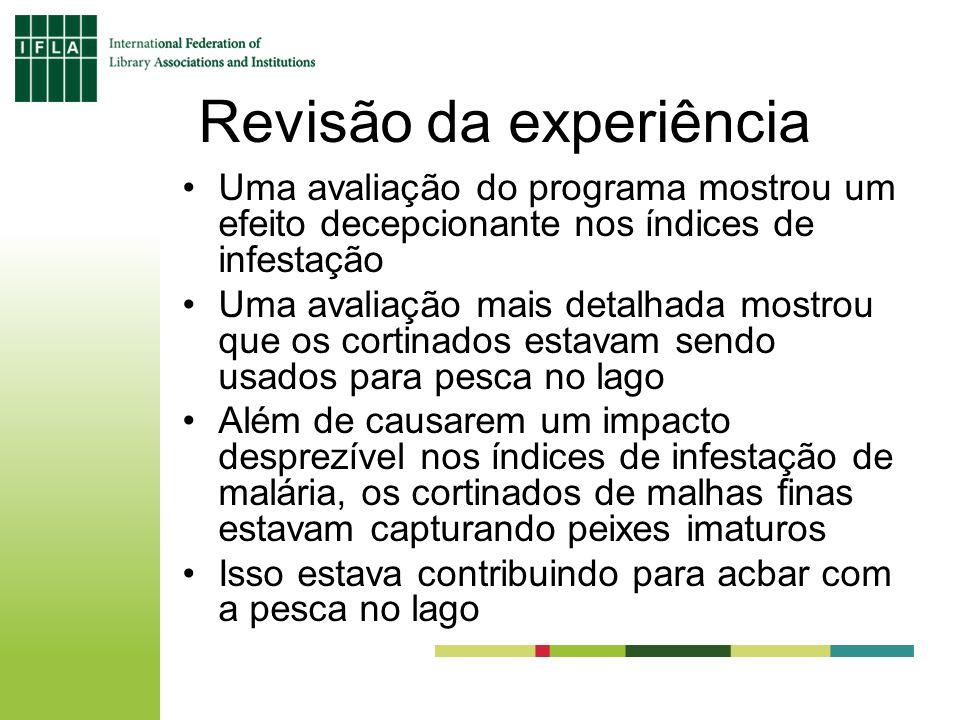 Revisão da experiência Uma avaliação do programa mostrou um efeito decepcionante nos índices de infestação Uma avaliação mais detalhada mostrou que os