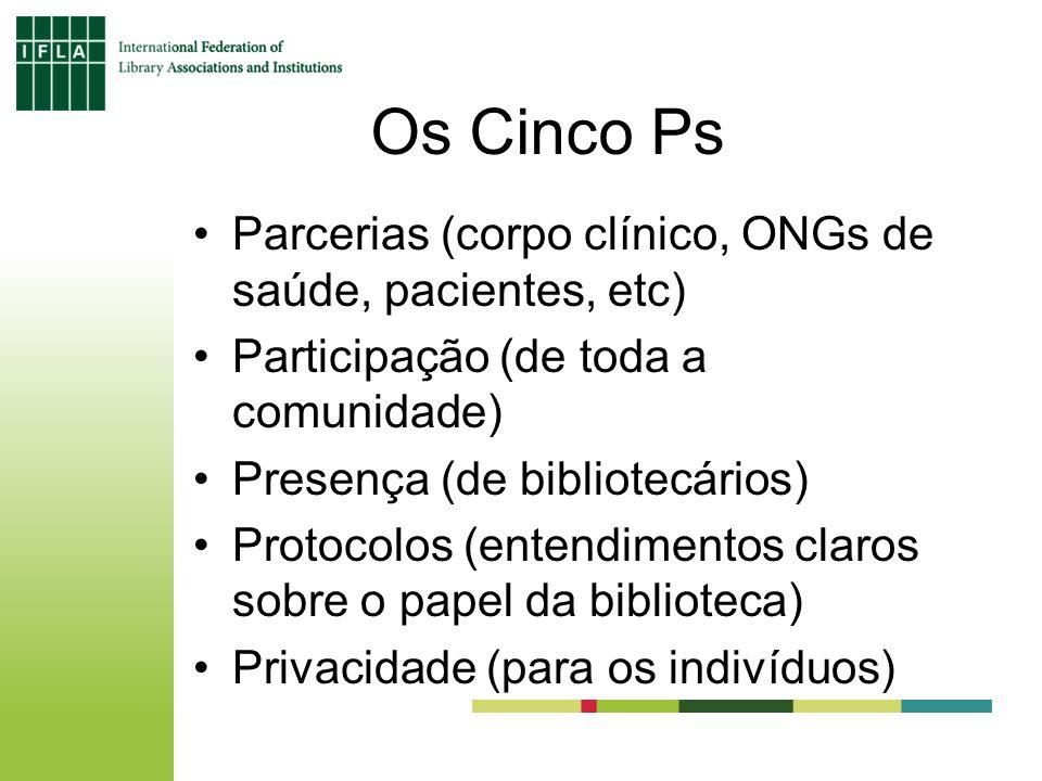 Os Cinco Ps Parcerias (corpo clínico, ONGs de saúde, pacientes, etc) Participação (de toda a comunidade) Presença (de bibliotecários) Protocolos (entendimentos claros sobre o papel da biblioteca) Privacidade (para os indivíduos)